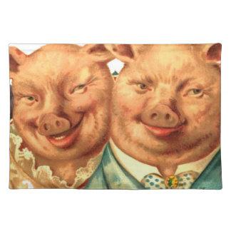 Lustiger glücklicher Schwein-Paar-Gewebe-Druck Tischsets