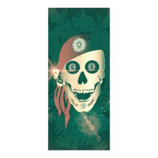 Lustiger goldener suger Schädel mit rotem Kopftuch 10,2 X 23,5 Cm Einladungskarte