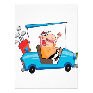 lustiger Golfspieler im Golfmobil Individuelle Einladungskarte