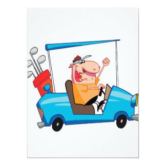 lustiger Golfspieler im Golfmobil 16,5 X 22,2 Cm Einladungskarte