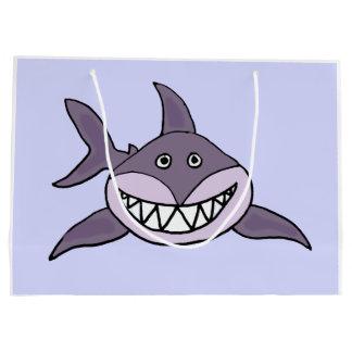 Lustiger grauer grinsender Haifisch-Cartoon Große Geschenktüte