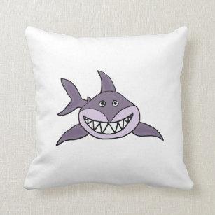 Lustiger Grauer Grinsender Haifisch Cartoon Kissen