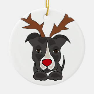 Lustiger grauer Pitbull Hund als Weihnachtsren Keramik Ornament