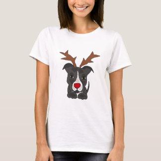 Lustiger grauer Pitbull Hund als Weihnachtsren T-Shirt