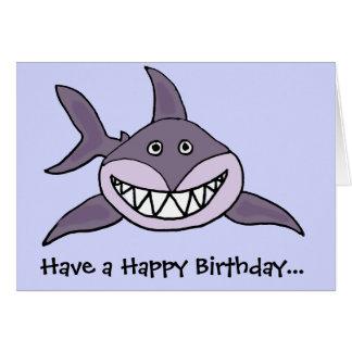 Lustiger grinsender grauer Haifisch-Cartoon Grußkarte