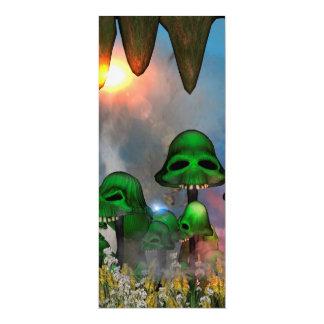 Lustiger grüner Schädel vermehrt sich MIT-Blumen 10,2 X 23,5 Cm Einladungskarte