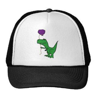 Lustiger grüner Trex Dinosaurier, der Ballon hält Netzkappen