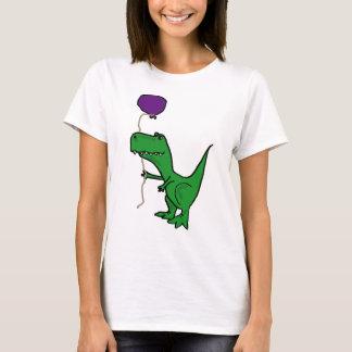Lustiger grüner Trex Dinosaurier, der Ballon hält T-Shirt