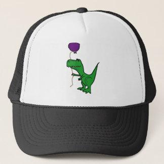 Lustiger grüner Trex Dinosaurier, der Ballon hält Truckerkappe