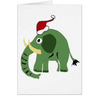Lustiger grüner Weihnachtselefant in der Karte