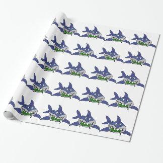 Lustiger Haifisch, der Essiggurken-Mann-Cartoon Geschenkpapier
