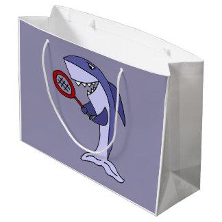 Lustiger Haifisch spielt Tennis Große Geschenktüte