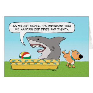 Lustiger Haifisch-und Hundegeburtstag Karte