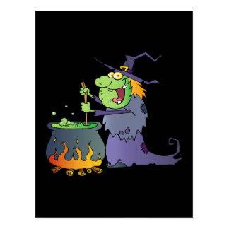 Lustiger Halloween-Hexe-Cartoon Postkarten