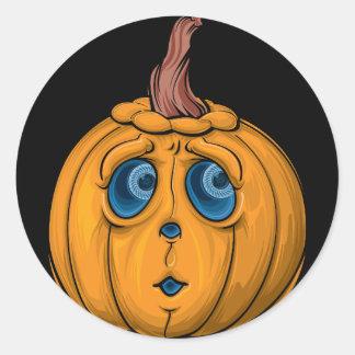 Lustiger Halloween-Kürbis Runder Aufkleber