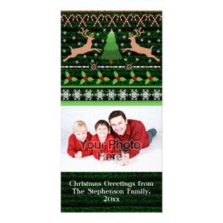 Lustiger hässlicher Weihnachtsstrickjacke-Feiertag Fotokarten