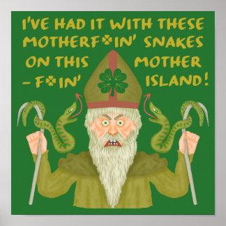 Lustiger Heiligen Patrick Tag schlängelt sich Poster