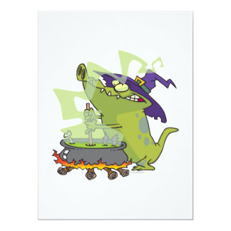 lustiger Hexealligator, der großen Kessel kocht 16,5 X 22,2 Cm Einladungskarte