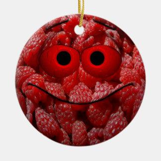 Lustiger HimbeergesichtEmoticon Keramik Ornament