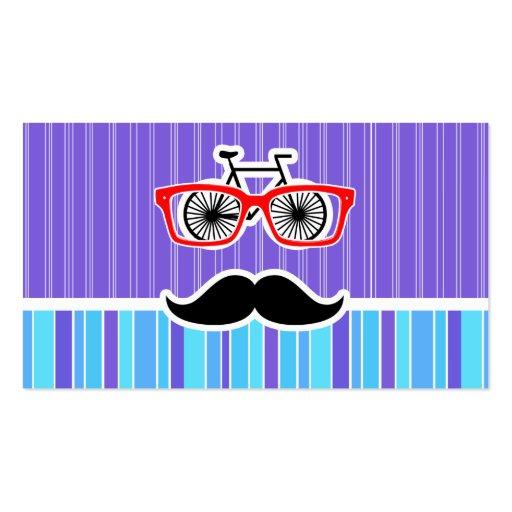 Lustiger Hipster; Blaue u. lila Streifen Visitenkartenvorlagen