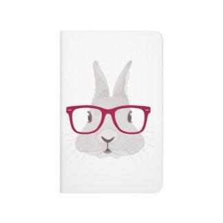 Lustiger Hipster-Osterhase mit roten Kantegläsern Taschennotizbuch