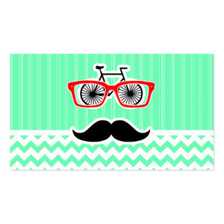 Lustiger Hipster-Schnurrbart; Grünes Zickzack Visitenkarten Vorlagen