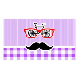 Lustiger Hipster-Schnurrbart-lila Gingham Visitenkartenvorlage