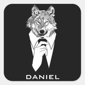 Lustiger Hipster-Wolf mit dem schwarzen Tuxedo Quadrat-Aufkleber