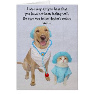 Lustiger Hund/Labrador u. Katze erhalten gut Grußkarte
