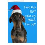 Lustiger Hund mit Weihnachtsmannmütze-Weihnachtska Karten