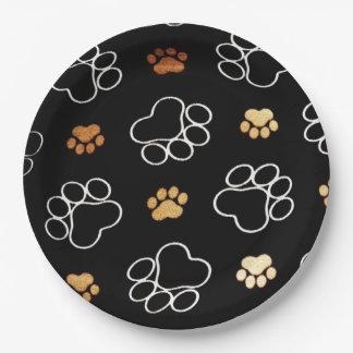 Lustiger Hund PawPrints auf Schwarzem, Pappteller