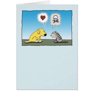Lustiger Hund und Katzen-Liebe und Hass Karte