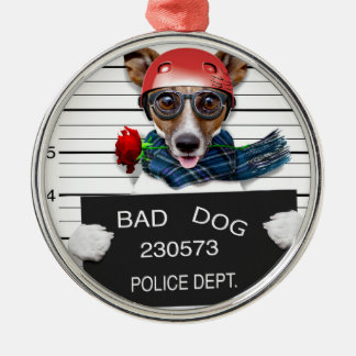 Lustiger Jack Russell, Mugshothund Silbernes Ornament