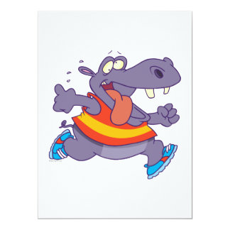 lustiger Joggenflusspferd-Läufer-Cartoon Einladungskarte