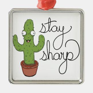 Lustiger Kaktus-Aufenthalt-Scharf-Charakter Silbernes Ornament