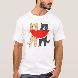 Lustiger Katzen-Wassermelone-Hipster-tierisches T-Shirt