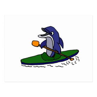 Lustiger Kayaking Delphin Postkarte