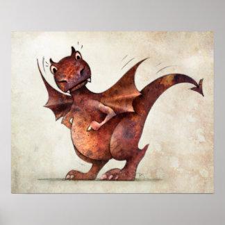 Lustiger kleiner magischer Drache Poster