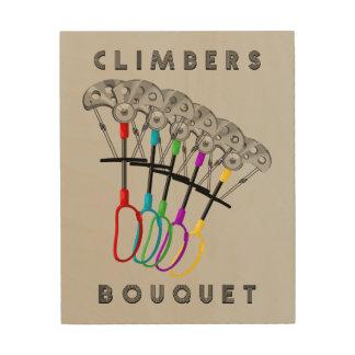 Lustiger Kletterer-Blumenstrauß Holzleinwand