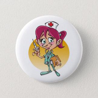 Lustiger Krankenschwester-Cartoon personalisiert Runder Button 5,7 Cm