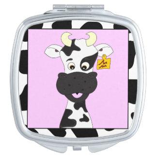 Lustiger Kuh-Cartoon Taschenspiegel