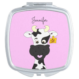 Lustiger Kuh-Cartoonrosa-Namenspiegel Schminkspiegel