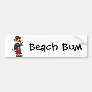 Lustiger Labrador-Retriever am Strand-Cartoon Autoaufkleber