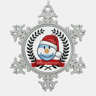 Lustiger lächelnder Argentinien-Flaggen-Feiertag Schneeflocken Zinn-Ornament