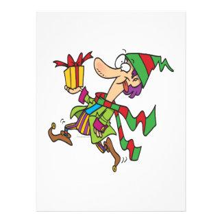lustiger laufender Weihnachtself mit anwesendem Individuelle Einladung