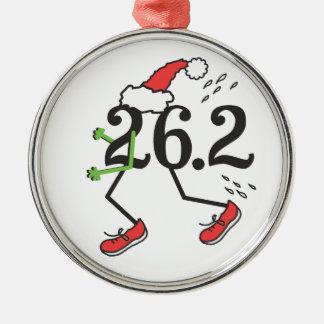 Lustiger Läufer 2 des Weihnachtsfeiertags-26,2 des Rundes Silberfarbenes Ornament