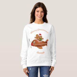 Lustiger Lebkuchen-Flugzeug-WeihnachtsCartoon Sweatshirt