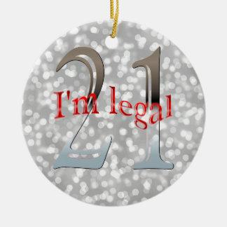 Lustiger legaler 21. Geburtstag Bokeh silbernes Keramik Ornament