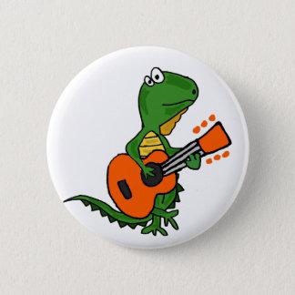 Lustiger Leguan, der Gitarren-Cartoon spielt Runder Button 5,7 Cm