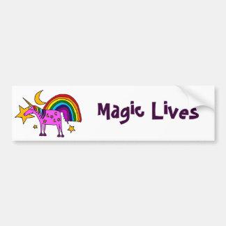 Lustiger lila Unicorn mit Regenbogen und Sternen Autoaufkleber